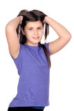 Adorable preteen girl. Isolated on white background Stock Image