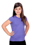 Adorable preteen girl. Isolated on white background Stock Photography