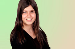 Adorable preteen girl. Isolated on green background Royalty Free Stock Image