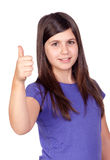 Adorable preteen girl accepting with the tumbs. Adorable preteen girl accepting with the thumbs isolated on white background Stock Image