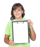 Adorable preteen girl with a blank clipboard. Isolated on white background Stock Images