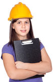 Adorable preteen girl with helmet Stock Images