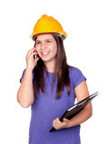 Adorable preteen girl with helmet and a mobile Royalty Free Stock Photo
