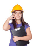 Adorable preteen girl with helmet thinking. Isolated on white background Royalty Free Stock Photo