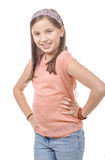 Adorable preteen girl isolated on white background Stock Image