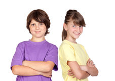 Adorable preteen girl and little gir. Isolated on white background Stock Images