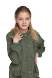 Adorable preteen girl. A portrait of an adorable preteen girl on the white background Stock Images