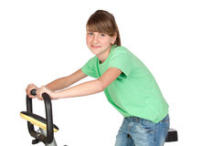 Adorable preteen girl practicing bike Stock Image