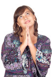 Adorable preteen girl praying Royalty Free Stock Photography