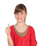 Adorable preteen girl saying OK. Isolated on white background Royalty Free Stock Photography