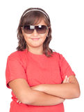 Adorable preteen girl with sunglasses. Isolated on white background Royalty Free Stock Photography