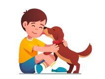 Free Adorable Puppy Dog Licking Smiling Kids Face Royalty Free Stock Image - 192362016