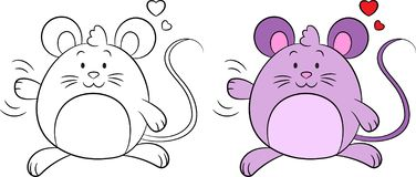 Kawaii before and after illustration of mouse, waving, with hearts, contour an color, for coloring book, or Valentine`s card. Adorable before and after purple vector illustration