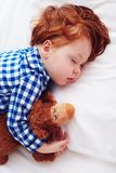 Adorable redhead toddler baby sleeping with plush toy in flannel Royalty Free Stock Image