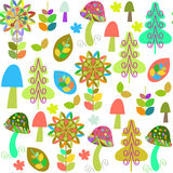Adorable retro floral vivid seamless pattern and seamless patter Royalty Free Stock Images