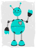 Adorable Robot Waving. Accented by grunge and rough border Stock Photos