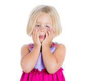 Adorable, but sad and stressed girl pulling eyes down with fingers Royalty Free Stock Photo