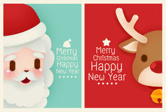 Adorable Santa and reindeer card Stock Images