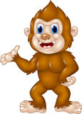 Adorable Sasquatch waving hand isolated on white background Stock Photography