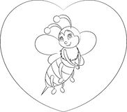 Black and white, contour kawaii drawing of a little bee on a heart for children`s coloring book or Valentine`s Day card. Adorable save the bees awareness black vector illustration