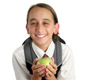 Adorable School Boy With Apple Stock Image