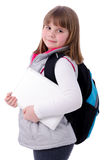 Adorable school girl with laptop Royalty Free Stock Image
