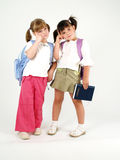 Adorable school girls. Thinking and posing Stock Image