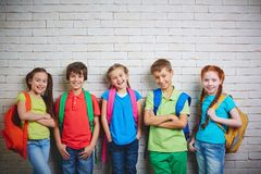 Adorable schoolkids Stock Photography