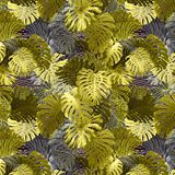 Adorable seamless design pattern with tropical leaves stock images