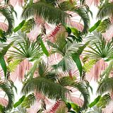 Adorable seamless design pattern with tropical leaves royalty free stock photo