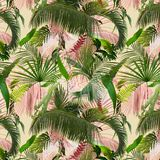 Adorable seamless design pattern with tropical leaves royalty free stock photos