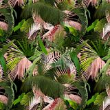 Adorable seamless design pattern with tropical leaves stock photos