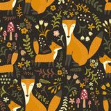 Adorable seamless pattern with cute foxes - Mother fox and her baby Royalty Free Stock Photos