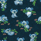 Adorable seamless pattern with cute koalas in cartoon. Ideal for cards, wallpapers, invitations, party, banners and children room decoration Royalty Free Stock Images