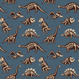 Adorable seamless pattern with funny dinosaur skeletons in cartoon style Stock Image