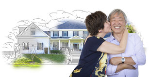 Adorable Senior Chinese Couple Kissing In Front of House Sketch Photo Combination. Attractive Affectionate Senior Chinese Couple In Front of House Sketch Photo Stock Photography