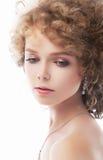 Adorable girl face - closeup studio portrait Stock Images