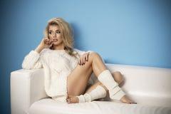 Adorable sexy shapely blond woman Stock Photos