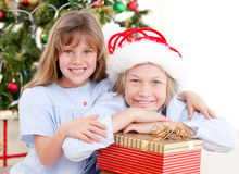 Adorable sibling celebrating christmas Royalty Free Stock Photography