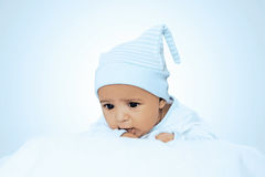 Adorable Six Month Baby Boy Wearing Blue Suite Stock Photography