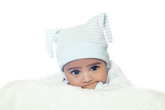 Adorable Six Month Baby Boy Wearing Blue Suite Stock Image