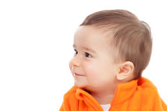 Adorable six month baby looking at side Stock Photo