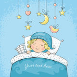 Adorable sleeping child. Vector illustration Stock Images