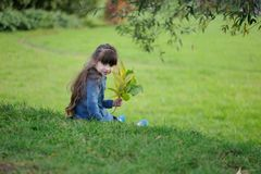 Adorable small girl on the hill Royalty Free Stock Photos
