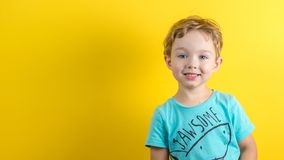 Adorable small three years old boy with cute face expression. On yellow background royalty free stock photography
