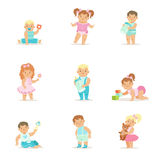 Adorable Smiling Babies And Kids In Blue And Pink Outfits Doing First Steps, Crawling And Playing Set Of Illustrations. Small Infant Boys And Girls Set OF Cute Stock Photo