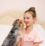 Adorable smiling happy little girl child playing with puppy yorkshire terrier. At home royalty free stock photo