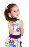 Adorable smiling little girl child back isolated Royalty Free Stock Photography