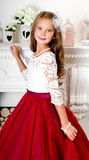 Adorable smiling little girl child in princess dress. Near the fireplace royalty free stock images
