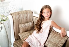Adorable smiling little girl child in princess dress Stock Photography